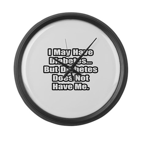 """""""Diabetes Fighter Quote"""" Large Wall Clock"""