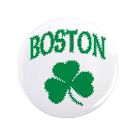 "Boston Irish Shamrock 3.5"" Button"