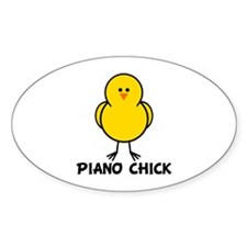 Piano Chick Oval Decal