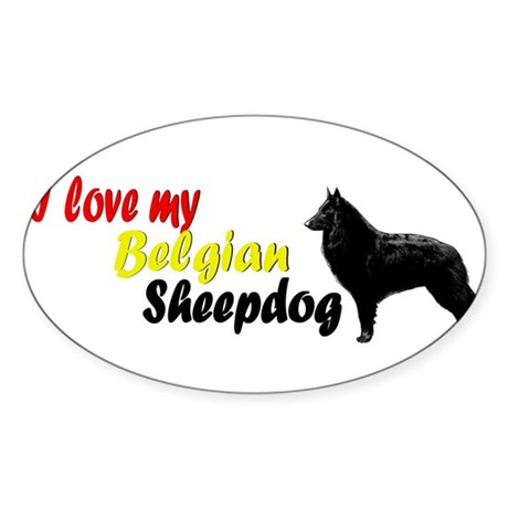 belgian sheepdog mom Oval Sticker