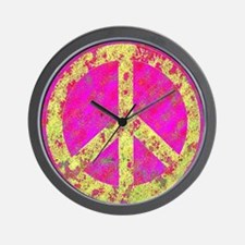 Pastel Splatter Peace Wall Clock