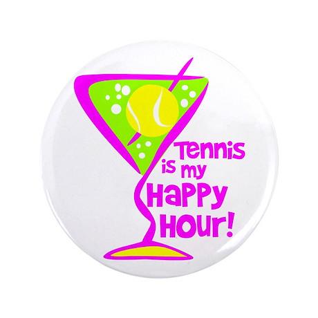 "Tennis Happy Hour 3.5"" Button"