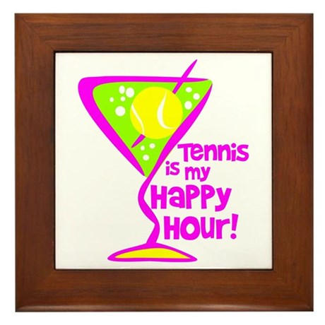 Tennis Happy Hour Framed Tile