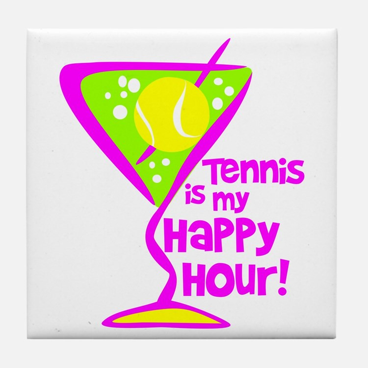 Tennis Happy Hour Tile Coaster