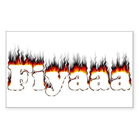 Black-Red Fiyaaa Rectangle Sticker