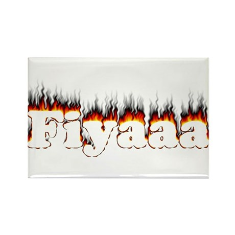 Black-Red Fiyaaa Rectangle Magnet (10 pack)