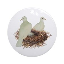 Doves in Nest Ornament (Round)