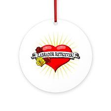 Labrador Retriever Heart Ornament (Round)