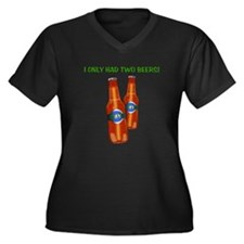 """Two Beers"" Women's Plus Size V-Neck Dark T-Shirt"