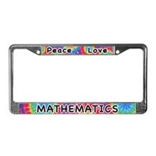 Peace Love Mathematics License Plate Frame