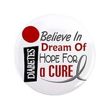 "BELIEVE DREAM HOPE Diabetes 3.5"" Button (100 pack)"