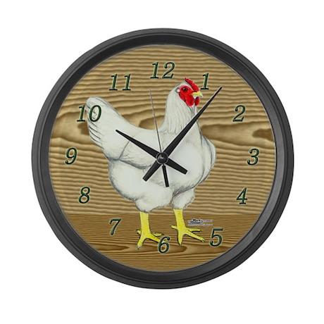 Brown Wood Hen Large Wall Clock