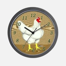 Brown Wood Hen Wall Clock