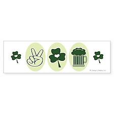 Peace Love Green Beer Bumper Bumper Sticker