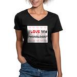 I Love My Phonologist Women's V-Neck Dark T-Shirt