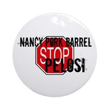 Pork Barrel Pelosi Ornament (Round)