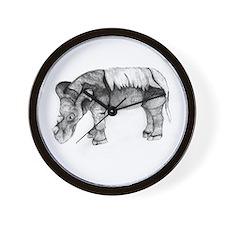 Emi the Sumatran Rhino Wall Clock by Lina Johnson