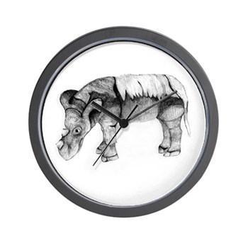 Emi the Sumatran Rhino Wall Clock by Lina Johnson