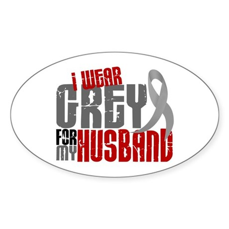 I Wear Grey For My Husband 6 Oval Sticker