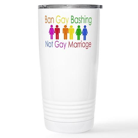 Ban Gay Bashing Stainless Steel Travel Mug