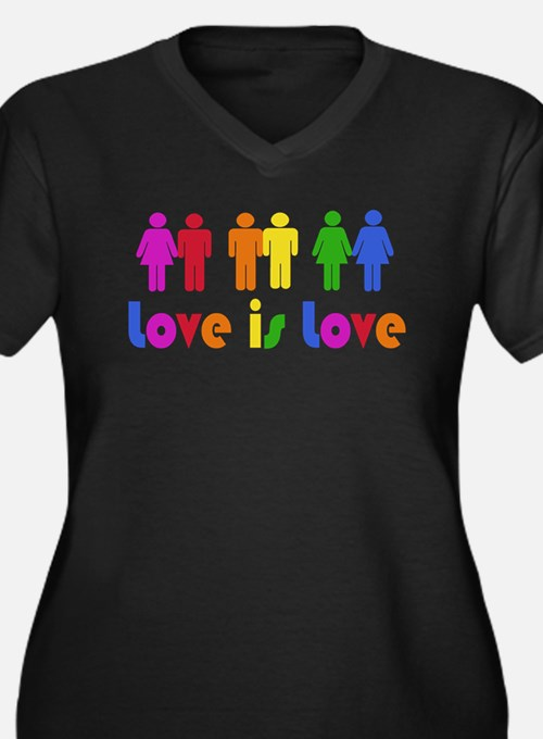 Love is Love Women's Plus Size V-Neck Dark T-Shirt