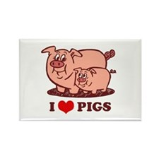 I Love Pigs Rectangle Magnet