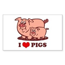 I Love Pigs Rectangle Decal