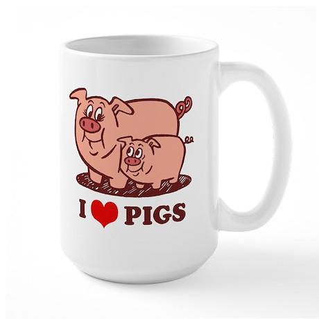 I Love Pigs Large Mug