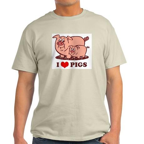 I Love Pigs Ash Grey T-Shirt
