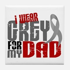 I Wear Grey For My Dad 6 Tile Coaster