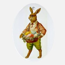 Antique Easter Bunny Tree Tile Oval Ornament