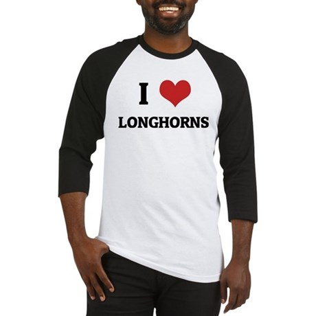I Love Longhorns Baseball Jersey