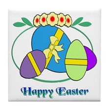 Happy Easter Eggs Tile Coaster