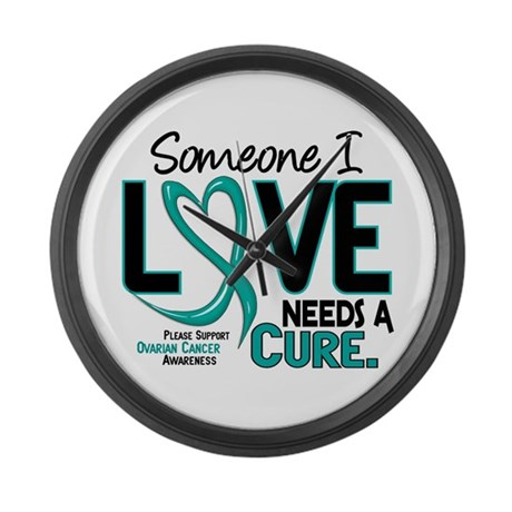 Needs A Cure 2 OVARIAN CANCER Large Wall Clock