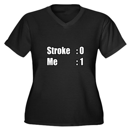 """I Beat My Stroke"" Women's Plus Size V-Neck Dark T"