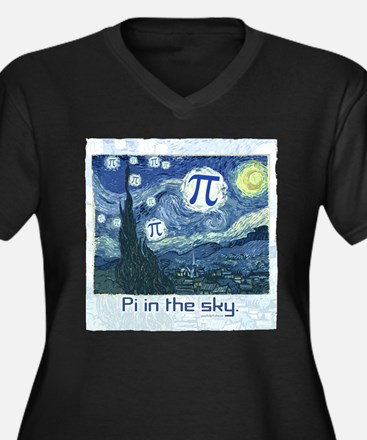 Pi in the Sky Women's Plus Size V-Neck Dark T-Shir