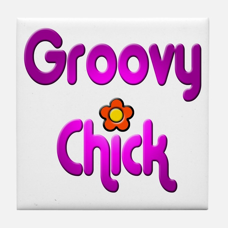 Groovy Chick Tile Coaster
