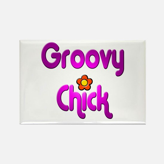 Groovy Chick Rectangle Magnet