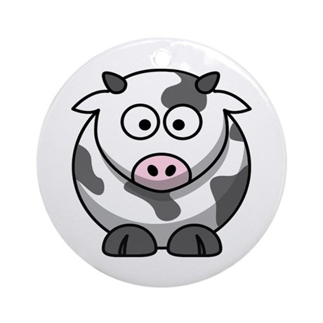 Cartoon Cow Ornament (Round)