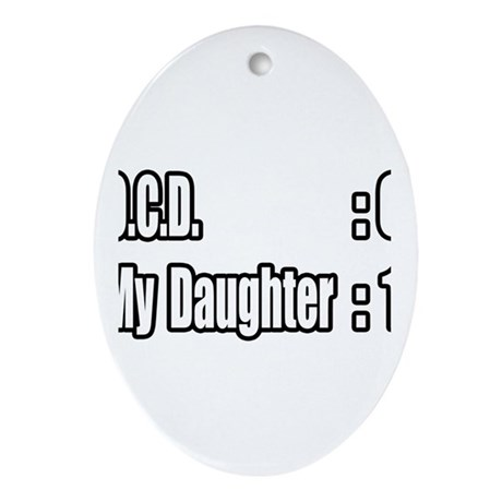 """Daughter Battles O.C.D."" Oval Ornament"