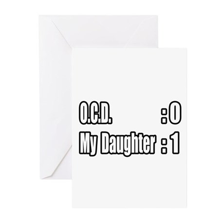 """Daughter Battles O.C.D."" Greeting Cards (Pk of 20"