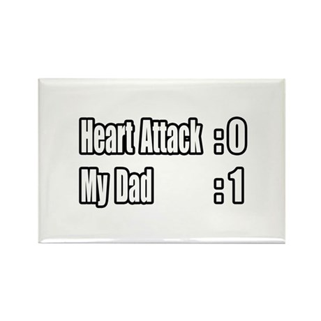 """""""Dad Beats Heart Attack"""" Rectangle Magnet"""