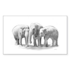 Elephant Family Rectangle Decal