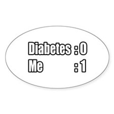 """""""I'm Beating Diabetes"""" Oval Decal"""