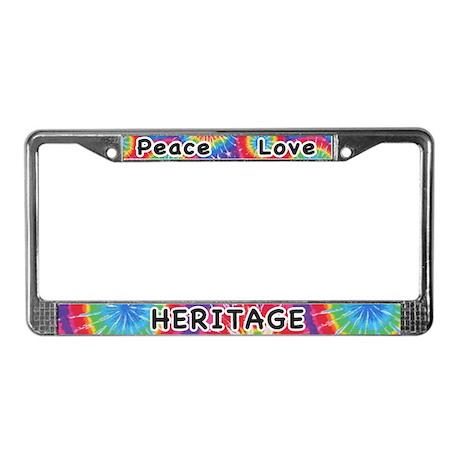 Peace Love Heritage License Plate Frame