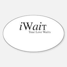 iWait True Love Waits Oval Decal