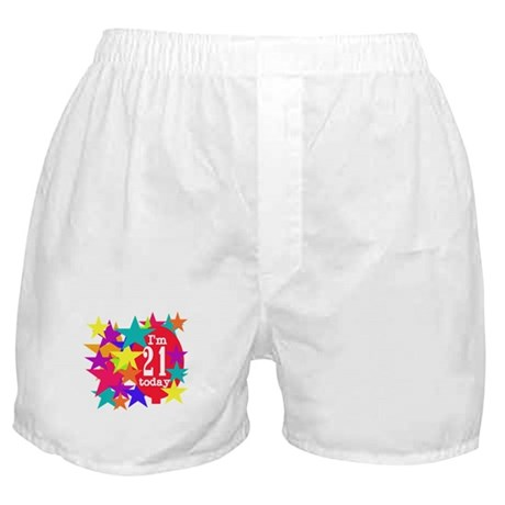 Balloon and Stars 21st Birthday Boxer Shorts
