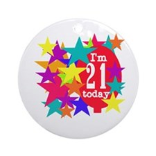 Balloon and Stars 21st Birthday Ornament (Round)