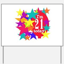 Balloon and Stars 21st Birthday Yard Sign