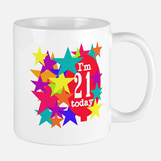 Balloon and Stars 21st Birthday Mug